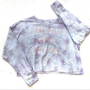 Forever 21 Cropped Tie-Dye Sweatshirt Pizza Lover